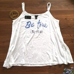 "NWT Torrid White ""Be True To You"" Tank Top"